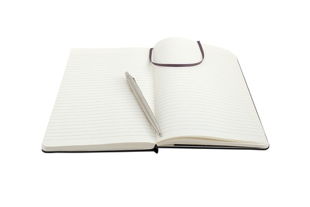 Notebook and pen on white background with clipping path photo