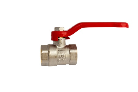 gas ball: Ball valve with red handle isolated on white with clipping path Stock Photo