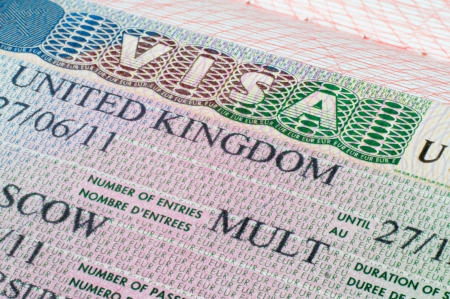 Close up United Kingdom visa in passport
