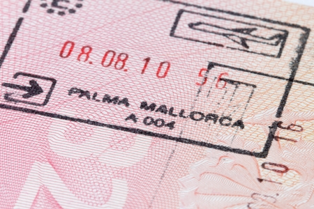 Mallorca immigration stamp in passport photo