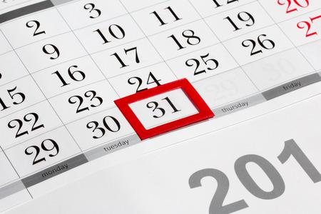 31의 표시된 날짜 달력 페이지 스톡 콘텐츠