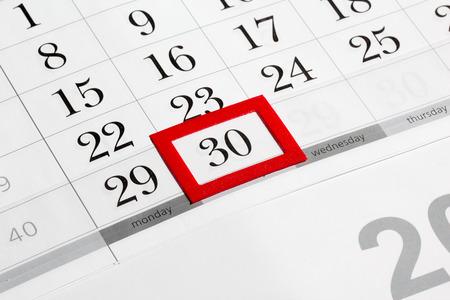 30의 표시된 날짜 달력 페이지