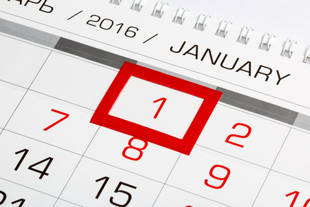 january: Calendar page with marked date of 1st of January 2016