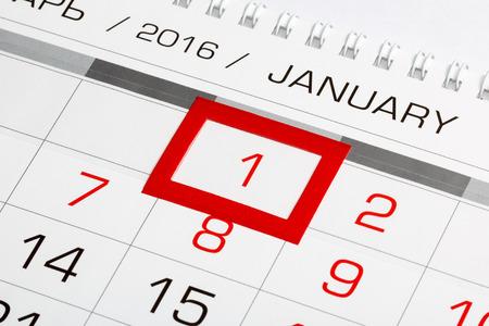 january: P�gina de calendario con la fecha marcada del 01 de enero 2016 Foto de archivo
