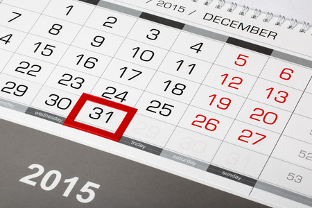 sunday paper: Calendar page with marked date of 31 of December 2015 Stock Photo