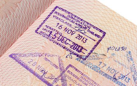Immigration stamp of Suvarnabhumi airport in Thailand