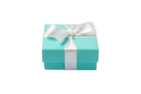 blue box: Turquoise isolated gift box with white ribbon on white background