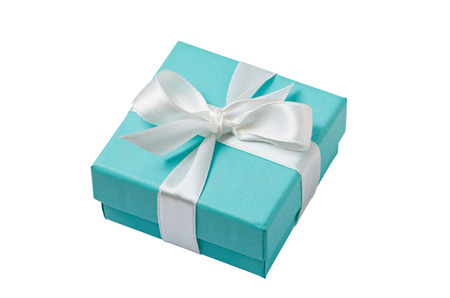 bows: Turquoise isolated gift box with white ribbon on white background