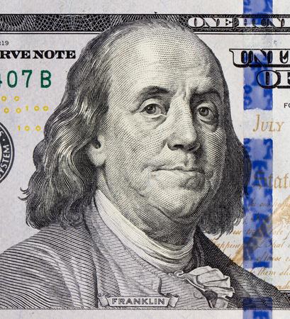 Benjamin Franklin portrait on one hundred dollars banknote