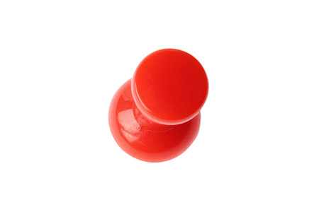 drawing pin: Top view of red drawing pin isolated on white with clipping path