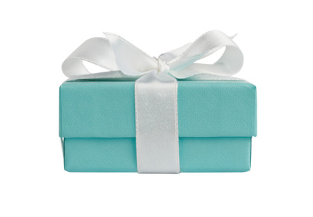 Side view of turquoise isolated gift box with white ribbon on white background with path