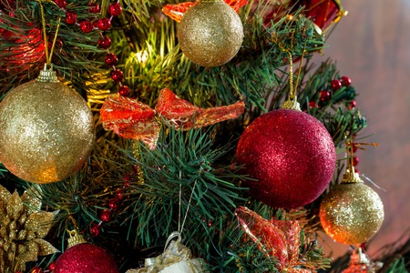 Close-up photo of decorated christmas tree with balls