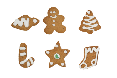 gingerbread cookies: Christmas gingerbread cookies isolated on white background Stock Photo