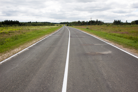 endless: Endless empty asphalt road in Russian suburb