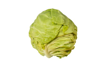 Green cabbage isolated on white with clipping path Stock fotó