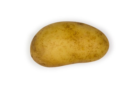 Single potatoe isolated on white with clipping path
