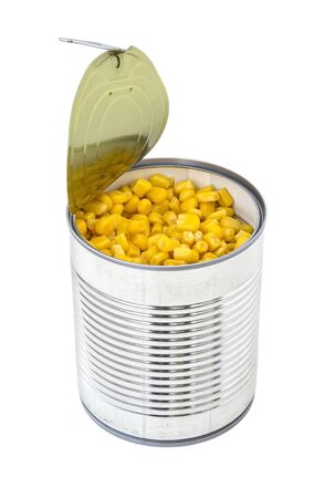 Canned sweet corn in a tin can with pull tab. Side dish and ingredient for salads. Isolated on a white background. Vegetarian food.  Stok Fotoğraf