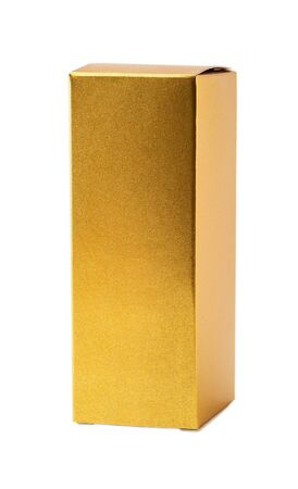 Small golden box for perfume or cologne isolated on white background. Tall paper box as package for perfumes or other products. Copy space. Front view.  Stock Photo