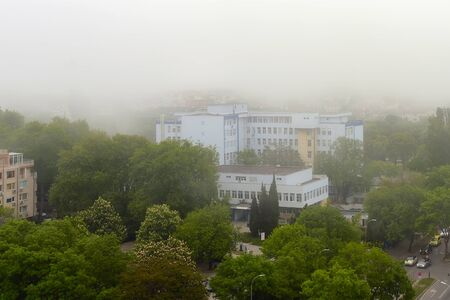 Lowrise buildings and streets with green trees in dense fog at summer day. Thick fog came from the sea and covered the city. Climate and weather changes. High angle view.