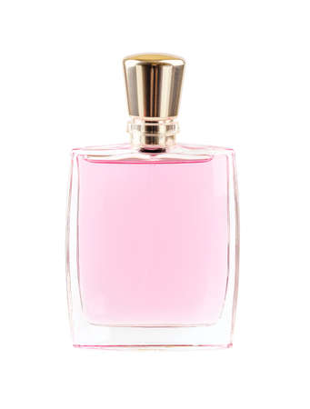 Perfume or scented toilet water in a rectangular transparent glass bottle with a golden lid isolated on a white background. Front view. 스톡 콘텐츠