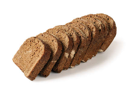 Sliced loaf of fresh rye bread isolated on white background. Low calorie whole grain sourdough bread. Baking of dough and healthy eating. Side view.