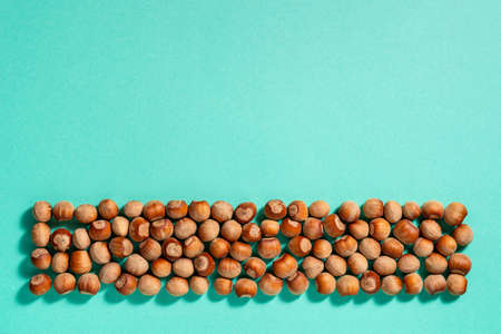 Strip of unpeeled hazelnuts casts shadows on a turquoise paper background. Nuts as an antioxidant and protein source for ketogenic diet and vegetarianism. Copy space. Top view. 免版税图像