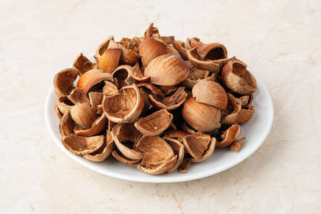 Close-up of hazelnut shells on a small white plate. Healthy vegetarian eating, antioxidant and protein source. Food waste and peelings. Front view. 免版税图像