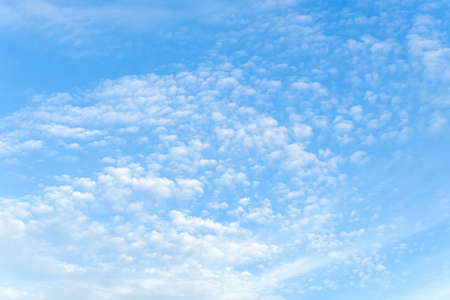 Light translucent cirrocumulus clouds high in a blue sky as a background. Day scenic skyscape of good sunny weather. Full frame. Copy space.