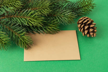 Blank brown greeting card, pine cone near and spruce branch on a textured green background. Winter season holidays Christmas and New Year. Copy space. Top view. 免版税图像