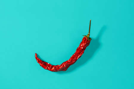 Red hot pepper dry pod casts shadow on a marine blue background. Natural spices and seasonings for meat, fish and vegetables dishes. Hard light studio shot. Top view. 免版税图像