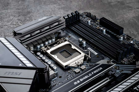 Varna, Bulgaria, January 08, 2021. Processor socket and ram memory slots on a MSI MAG Z490 TOMAHAWK gaming motherboard. Modern desktop PC hardware components for build and upgrade. 新闻类图片