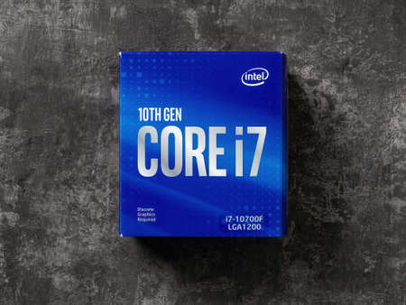 Varna, Bulgaria, January 09, 2021. Intel Core i7-10700F processor blue box on a dark background. 10th gen Intel CPU. Modern desktop computer hardware components for build and upgrade. Top view.