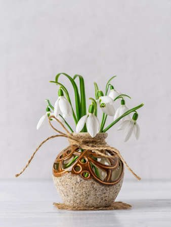 White delicate snowdrops in a round brown ceramic vase against a light gray background. Small beautiful bouquet of the first spring flowers Galanthus Nivalis. Vintage spring greeting card. Front view.