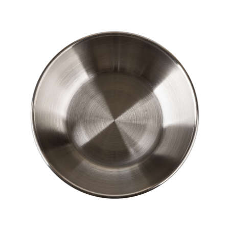 Top view of chinese style metal sauce bowl isolated on white background. Empty dishes for food design. Modern stainless steel tableware of stylish minimalistic design. Close-up.