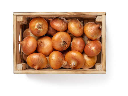 Wooden crate full of raw yellow onions isolated on white background. Fresh onion in a wood box. Eco-friendly rustic style containers for vegetables and fruits. Vegetarian and healthy eating. Domestic life. Top view. 免版税图像