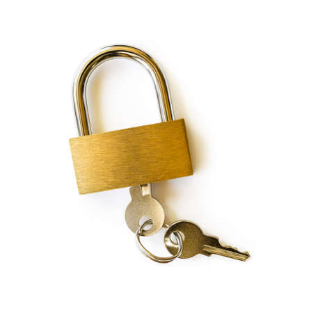 Closed padlock with keys isolated on white background. Locked yellow brass padlock closeup. The key is inserted into the lock. Access security and privacy protection concept design element. Top view.