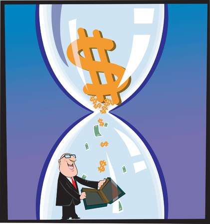 Businessman in an  Hour-glass Stock Vector - 1639484