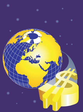 Dollar orbiting the earth  Stock Vector - 1639465
