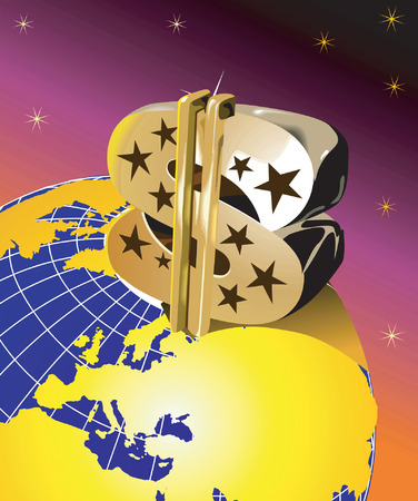 Dollar with us flag on globe Stock Vector - 1640435