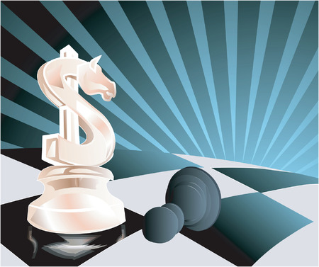 Dollar as chess pawn with abstractive background