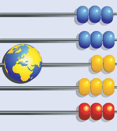 arithmetical: Globe in a row  in abacus  Illustration