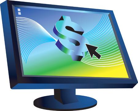 us coin: D�lar s�mbolo en el monitor de ordenador