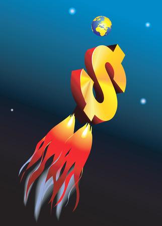 approaching: Dollar rocket approaching the earth