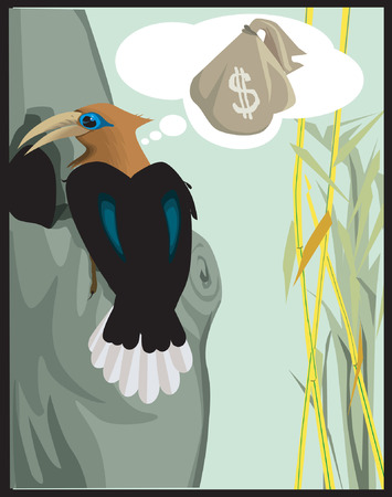 cling: Woodpecker searching for treasure , dreaming of dollar