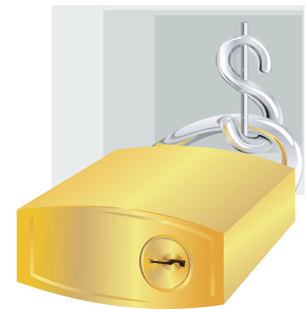 Dollar with lock made of gold Stock Vector - 1640416