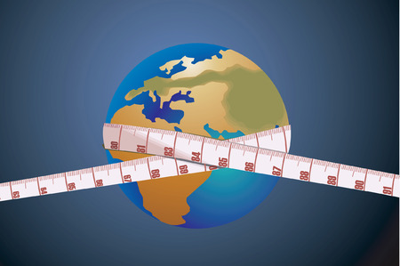 measurement tape: Measurement tape on the globe