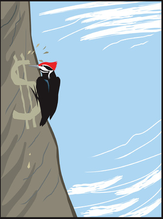 cling: Woodpecker curving the dollar sign