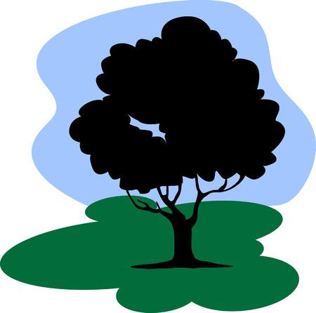 Tree under sky Vector