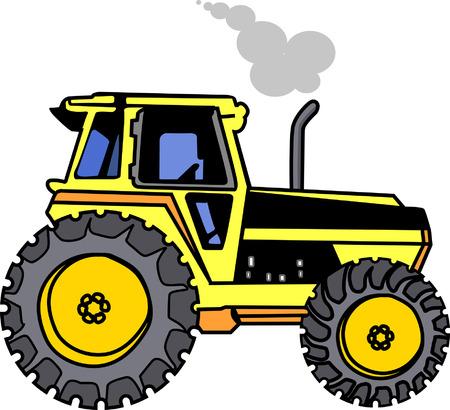yellow tractor: Tractor  Exhausting smoke