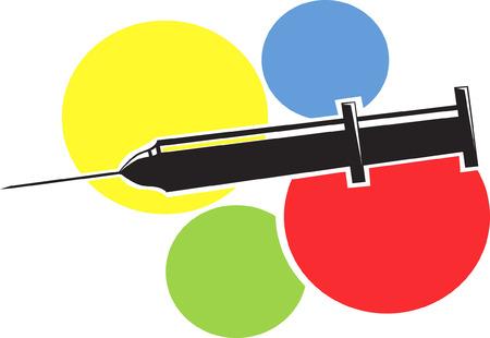 insulin syringe: Syringe on four colour background